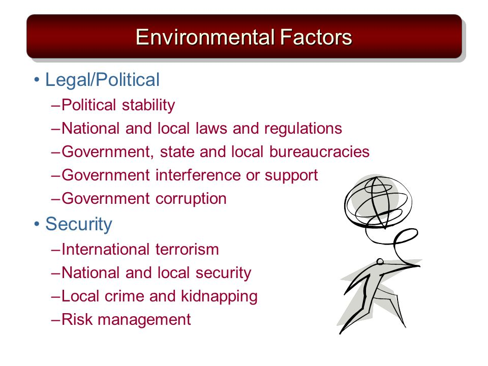 Environmental Factors Legal/Political –Political stability –National and local laws and regulations –Government, state and local bureaucracies –Government interference or support –Government corruption Security –International terrorism –National and local security –Local crime and kidnapping –Risk management