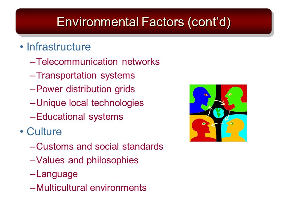 Environmental Factors (contd) Infrastructure –Telecommunication networks –Transportation systems –Power distribution grids –Unique local technologies –Educational systems Culture –Customs and social standards –Values and philosophies –Language –Multicultural environments