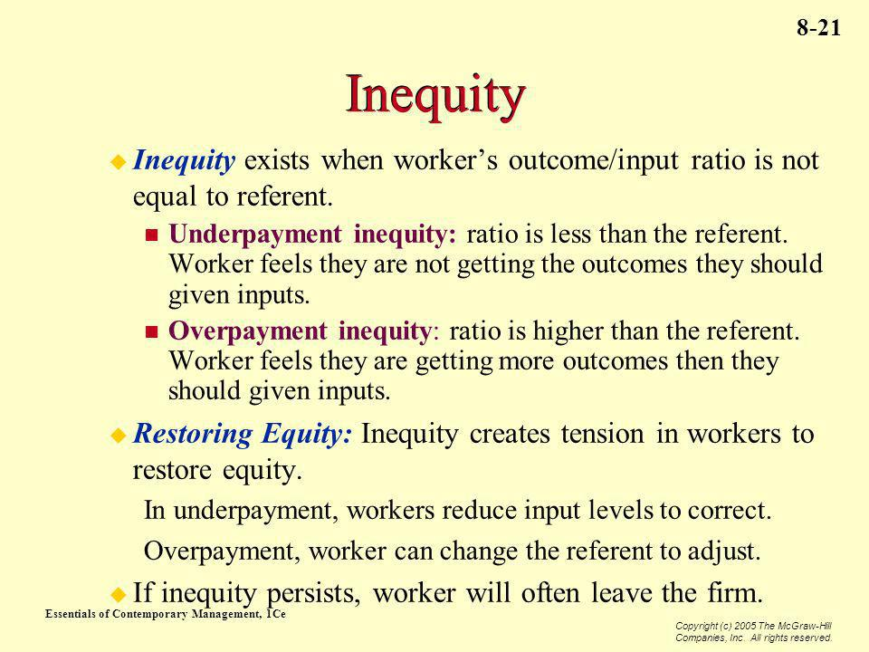 Essentials of Contemporary Management, 1Ce Copyright (c) 2005 The McGraw-Hill Companies, Inc. All rights reserved. 8-21 Inequity Inequity exists when