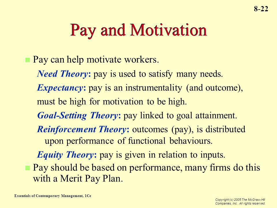 Essentials of Contemporary Management, 1Ce Copyright (c) 2005 The McGraw-Hill Companies, Inc. All rights reserved. 8-22 Pay and Motivation Pay can hel