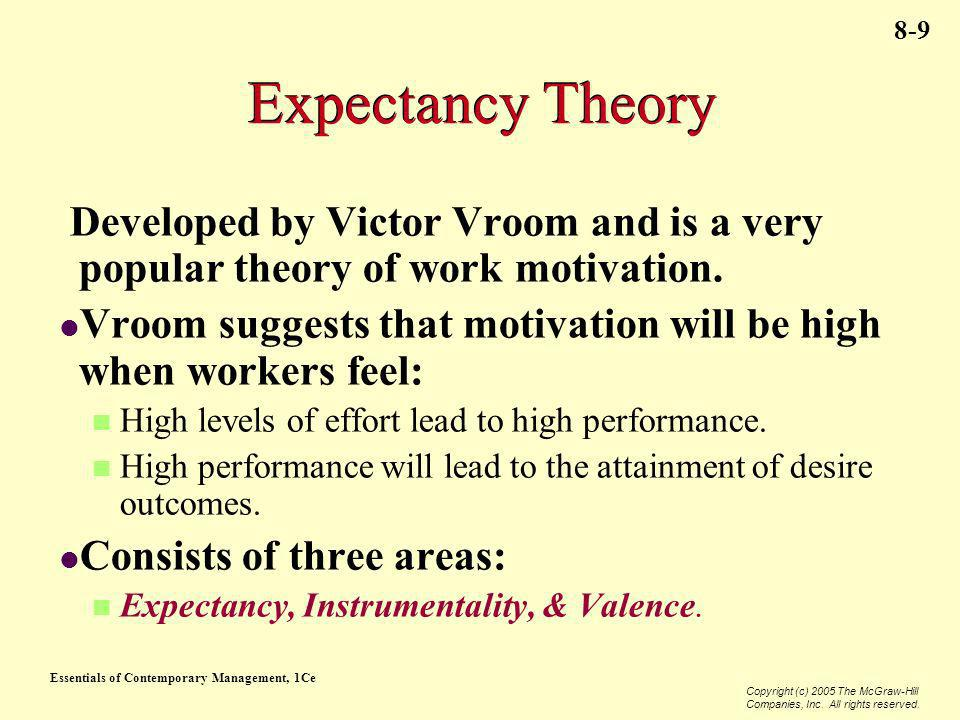 Essentials of Contemporary Management, 1Ce Copyright (c) 2005 The McGraw-Hill Companies, Inc. All rights reserved. 8-9 Expectancy Theory Developed by