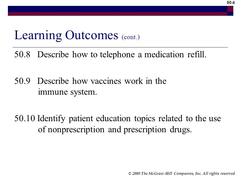 © 2009 The McGraw-Hill Companies, Inc. All rights reserved 50-3 Learning Outcomes (cont.) 50.5 Contrast over-the-counter and prescription drugs. 50.6