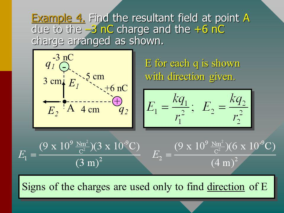 The Resultant Electric Field. The resultant field E in the vicinity of a number of point charges is equal to the vector sum of the fields due to each
