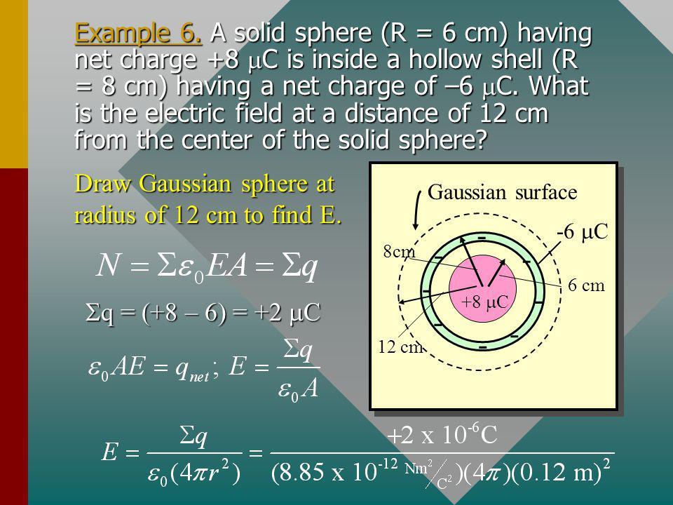 Example 6. How many electric field lines pass through the Gaussian surface drawn below. + - q1q1 q4q4 q3q3 - + q2q2 -4 C +5 C +8 C -1 C Gaussian surfa