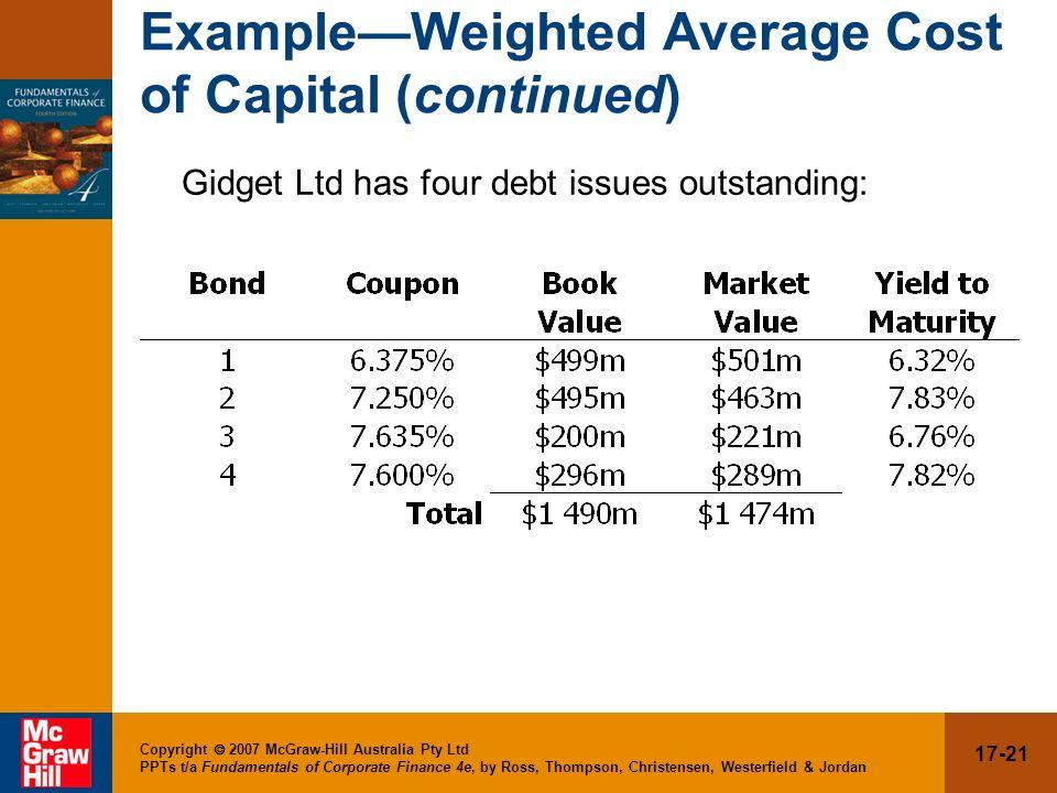 17-21 Copyright 2007 McGraw-Hill Australia Pty Ltd PPTs t/a Fundamentals of Corporate Finance 4e, by Ross, Thompson, Christensen, Westerfield & Jordan