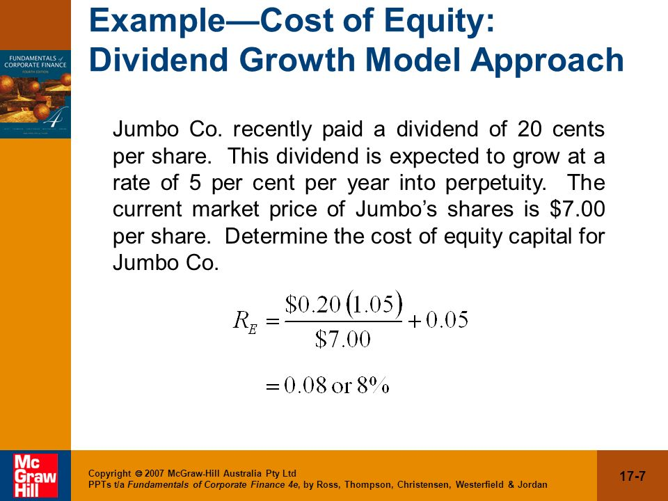 17-8 Copyright 2007 McGraw-Hill Australia Pty Ltd PPTs t/a Fundamentals of Corporate Finance 4e, by Ross, Thompson, Christensen, Westerfield & Jordan Estimating g One method for estimating the growth rate is to use the historical average.