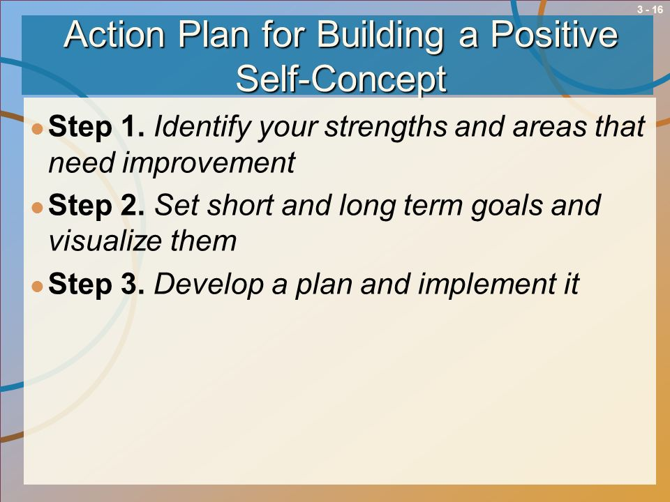 3 - 16 Action Plan for Building a Positive Self-Concept Step 1. Identify your strengths and areas that need improvement Step 2. Set short and long ter