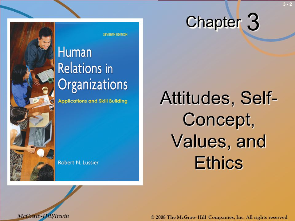 3 - 3Introduction Job satisfaction is based on attitudes, which in turn are shaped by values and ethics Self-concept is ones attitude about oneself Values do tend to influence, not necessarily affect, behavior, including whether or not behavior is ethical