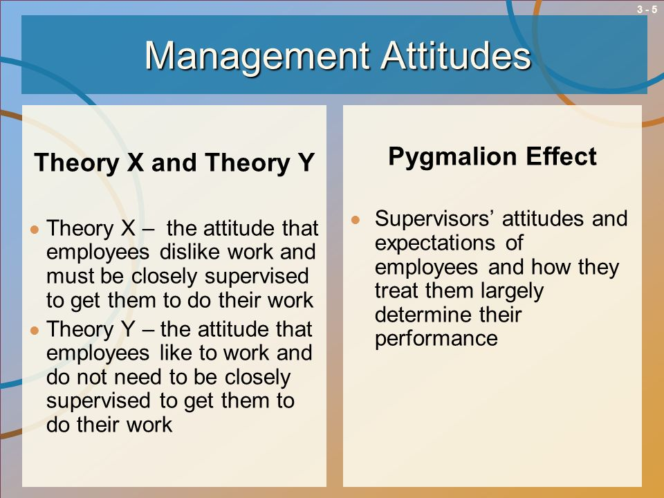 3 - 5Management Attitudes Theory X and Theory Y Theory X – the attitude that employees dislike work and must be closely supervised to get them to do t