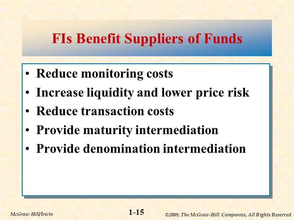 ©2009, The McGraw-Hill Companies, All Rights Reserved 1-15 McGraw-Hill/Irwin FIs Benefit Suppliers of Funds Reduce monitoring costs Increase liquidity and lower price risk Reduce transaction costs Provide maturity intermediation Provide denomination intermediation Reduce monitoring costs Increase liquidity and lower price risk Reduce transaction costs Provide maturity intermediation Provide denomination intermediation