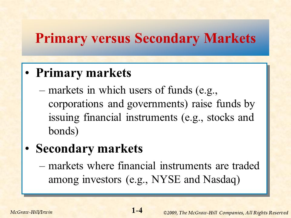 ©2009, The McGraw-Hill Companies, All Rights Reserved 1-4 McGraw-Hill/Irwin Primary versus Secondary Markets Primary markets –markets in which users of funds (e.g., corporations and governments) raise funds by issuing financial instruments (e.g., stocks and bonds) Secondary markets –markets where financial instruments are traded among investors (e.g., NYSE and Nasdaq) Primary markets –markets in which users of funds (e.g., corporations and governments) raise funds by issuing financial instruments (e.g., stocks and bonds) Secondary markets –markets where financial instruments are traded among investors (e.g., NYSE and Nasdaq)