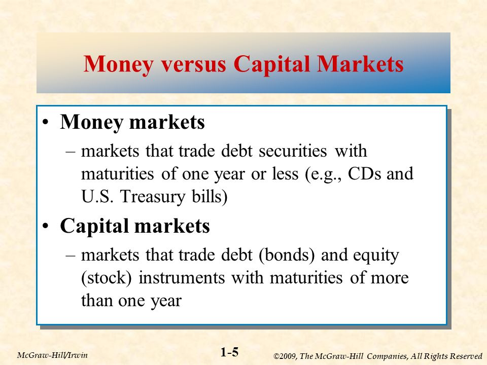 ©2009, The McGraw-Hill Companies, All Rights Reserved 1-5 McGraw-Hill/Irwin Money versus Capital Markets Money markets –markets that trade debt securities with maturities of one year or less (e.g., CDs and U.S.