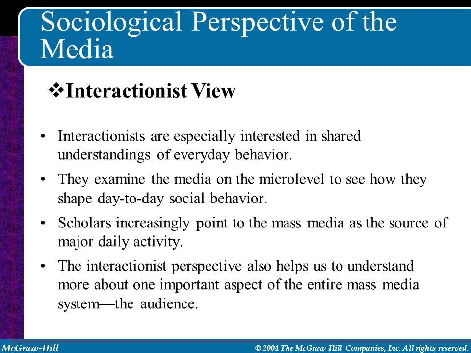 McGraw-Hill © 2004 The McGraw-Hill Companies, Inc. All rights reserved. Sociological Perspective of the Media Interactionists are especially intereste