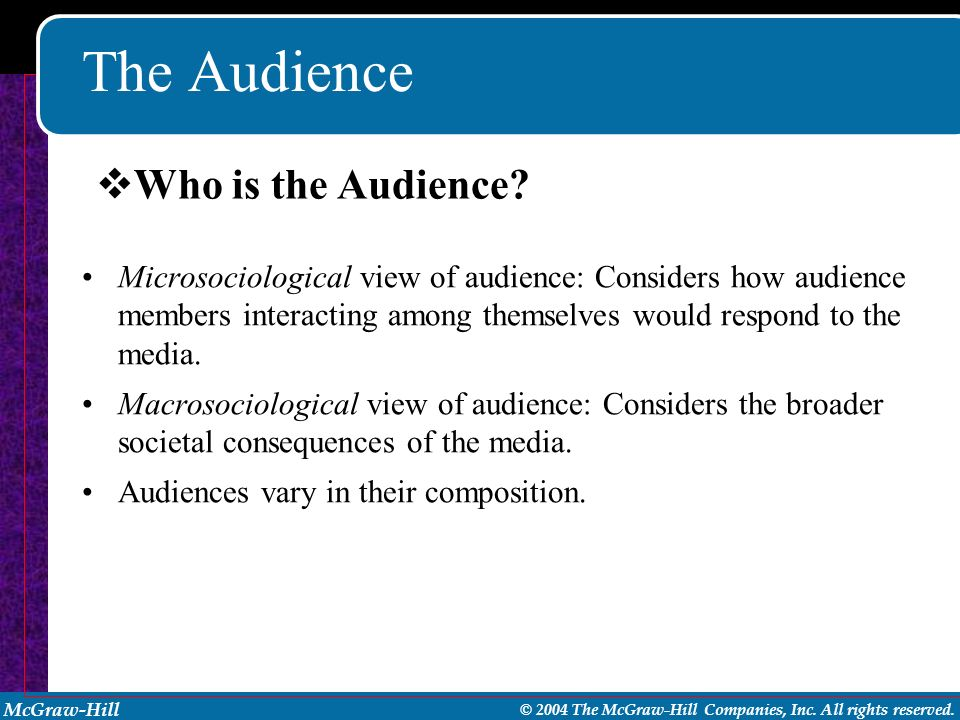 McGraw-Hill © 2004 The McGraw-Hill Companies, Inc. All rights reserved. The Audience Microsociological view of audience: Considers how audience member