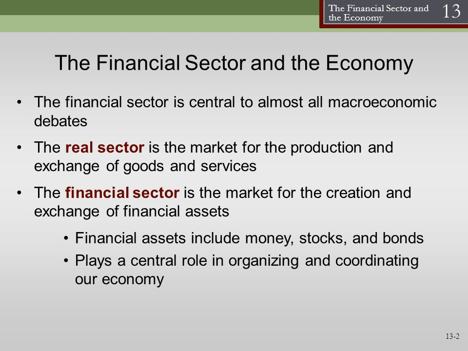 The Financial Sector and the Economy 13 The Financial Sector and the Economy The financial sector is central to almost all macroeconomic debates The r