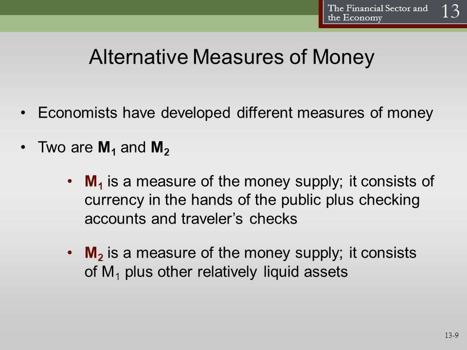 The Financial Sector and the Economy 13 Alternative Measures of Money Economists have developed different measures of money Two are M 1 and M 2 M 1 is