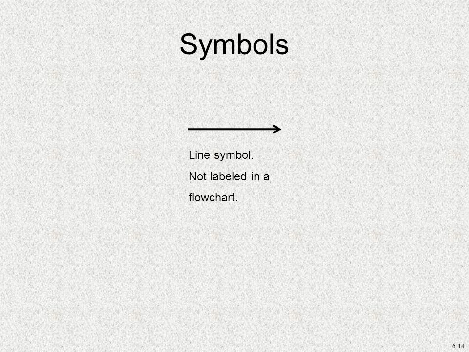 6-14 Symbols Line symbol. Not labeled in a flowchart.
