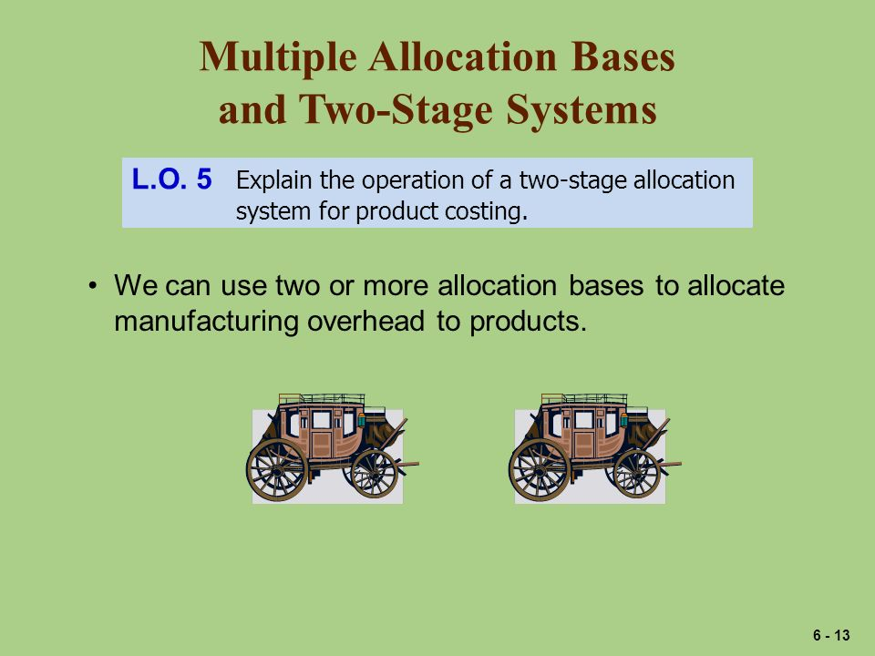 Multiple Allocation Bases and Two-Stage Systems L.O. 5 Explain the operation of a two-stage allocation system for product costing. We can use two or m