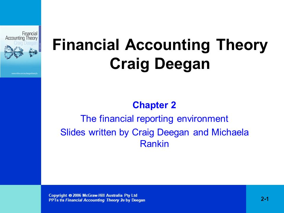 2-22 Copyright 2006 McGraw-Hill Australia Pty Ltd PPTs t/a Financial Accounting Theory 2e by Deegan Rationale for regulating financial accounting practice Initially introduced following the Great Depression –argued that problems with accounting information led to poor and uninformed investment decisions Competing views as to whether regulation is necessary