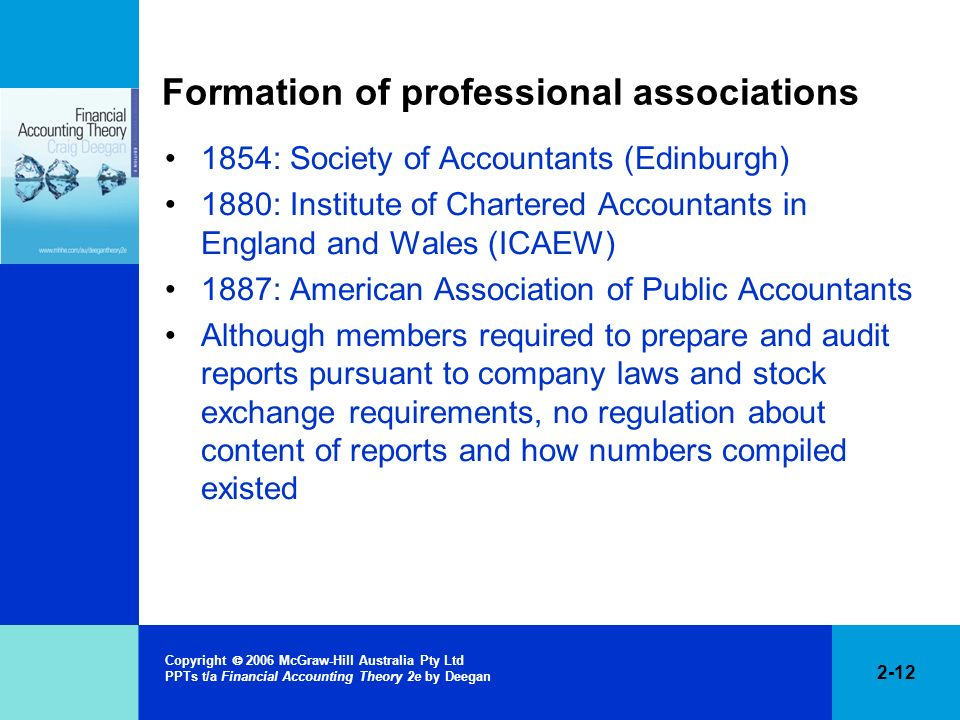 2-12 Copyright 2006 McGraw-Hill Australia Pty Ltd PPTs t/a Financial Accounting Theory 2e by Deegan Formation of professional associations 1854: Socie