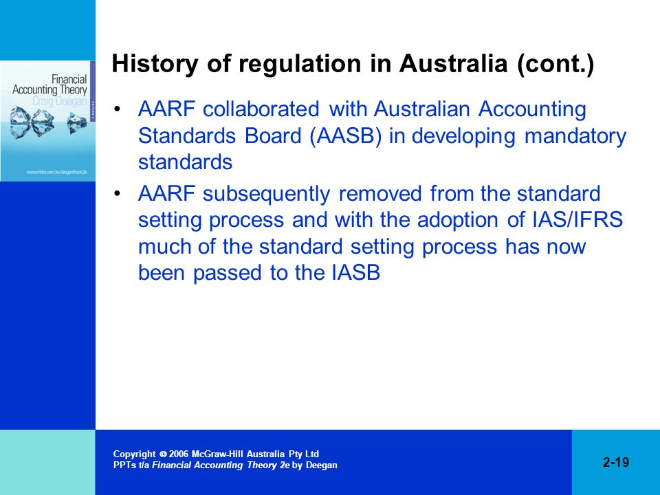 2-19 Copyright 2006 McGraw-Hill Australia Pty Ltd PPTs t/a Financial Accounting Theory 2e by Deegan History of regulation in Australia (cont.) AARF co