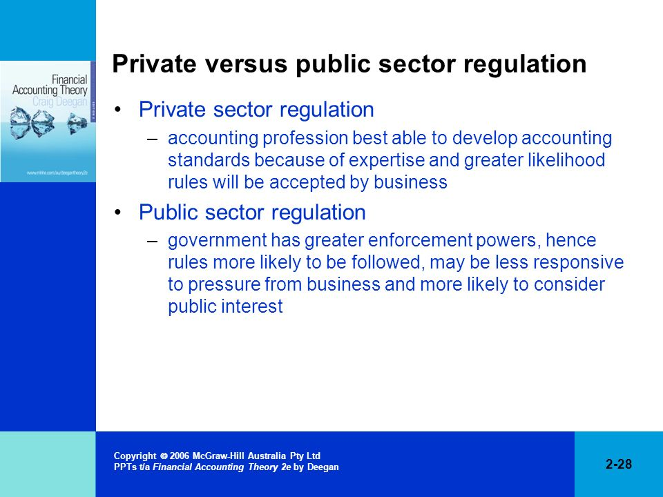 2-28 Copyright 2006 McGraw-Hill Australia Pty Ltd PPTs t/a Financial Accounting Theory 2e by Deegan Private versus public sector regulation Private se