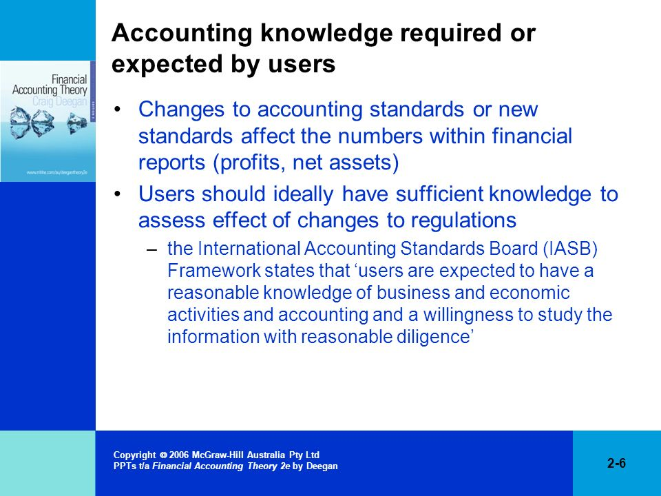 2-6 Copyright 2006 McGraw-Hill Australia Pty Ltd PPTs t/a Financial Accounting Theory 2e by Deegan Accounting knowledge required or expected by users