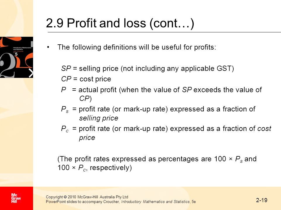 2-19 Copyright 2010 McGraw-Hill Australia Pty Ltd PowerPoint slides to accompany Croucher, Introductory Mathematics and Statistics, 5e 2.9 Profit and