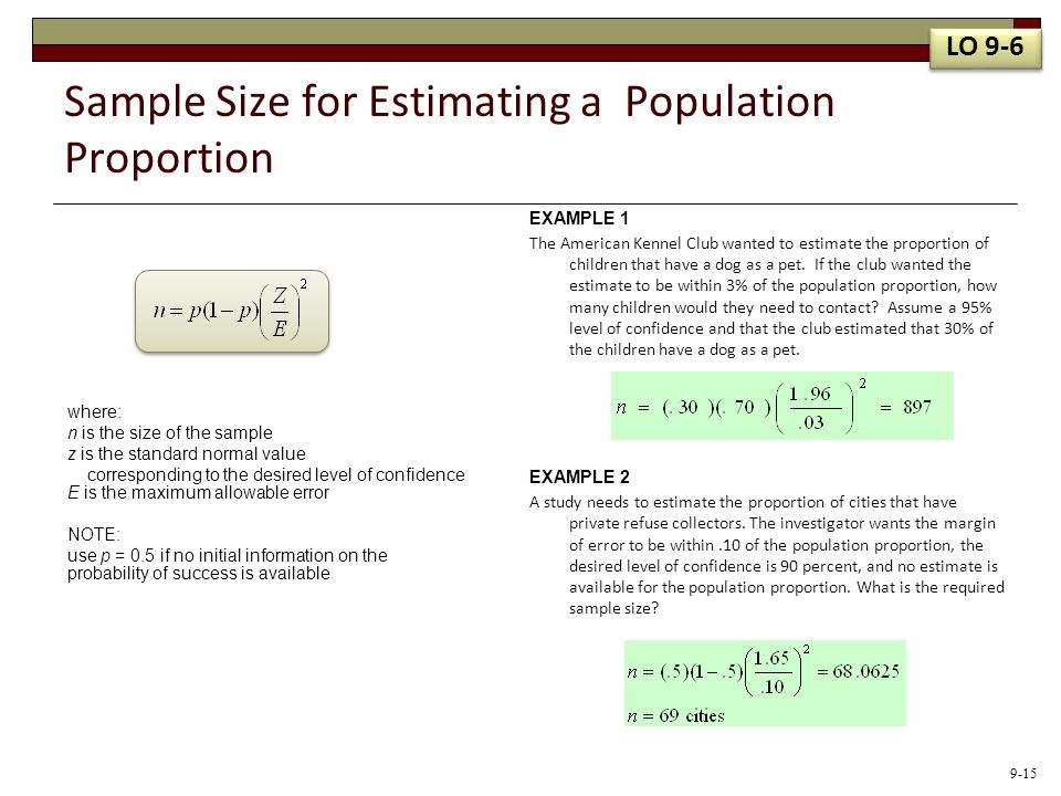 Sample Size for Estimating a Population Proportion where: n is the size of the sample z is the standard normal value corresponding to the desired leve
