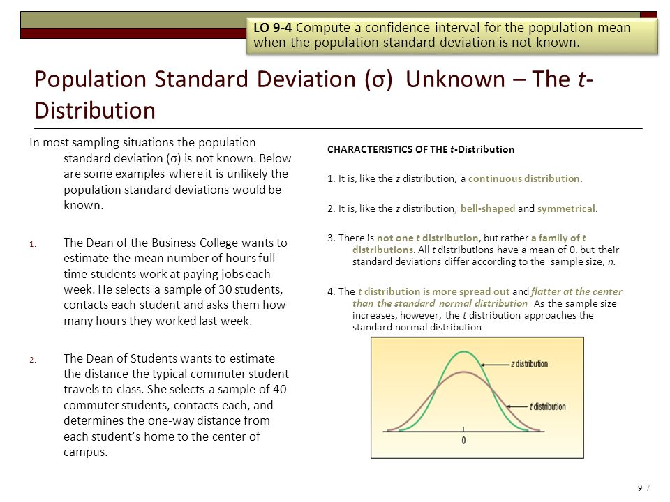 Population Standard Deviation (σ) Unknown – The t- Distribution In most sampling situations the population standard deviation (σ) is not known. Below