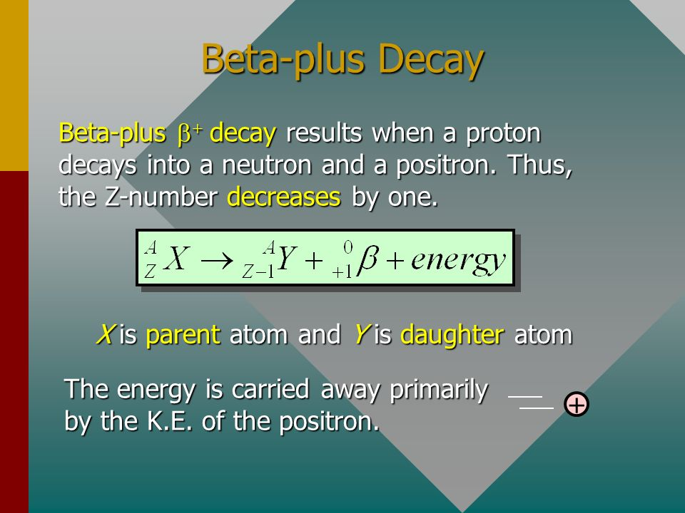 Beta-minus Decay Beta-minus decay results when a neutron decays into a proton and an electron. Thus, the Z-number increases by one. X is parent atom a