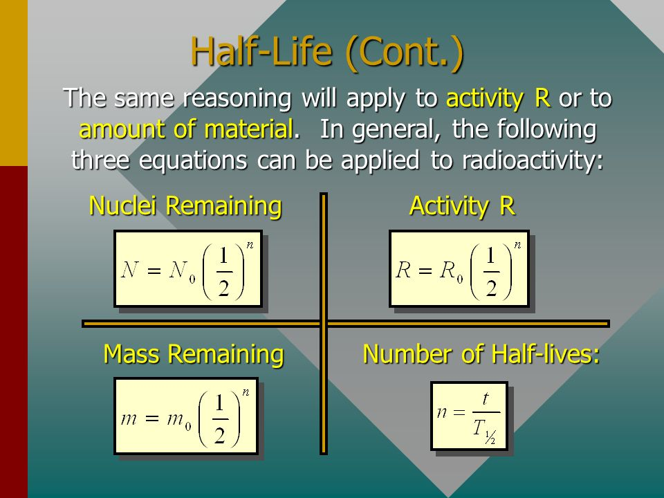 The Half-Life The half-life T 1/2 of an isotope is the time in which one- half of its unstable nuclei will decay. NoNo Number of Half-lives Number Und