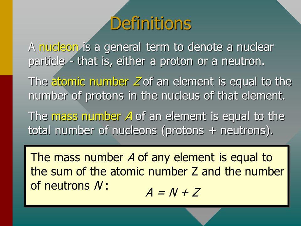 Mass Defect (Continued) Mass of carbon-12 nucleus: 11.996706 Proton: 1.007276 u Neutron: 1.008665 u The nucleus contains 6 protons and 6 neutrons: 6 p = 6(1.007276 u) = 6.043656 u 6 n = 6(1.008665 u) = 6.051990 u Total mass of parts: = 12.095646 u Mass defect m D = 12.095646 u – 11.996706 u m D = 0.098940 u