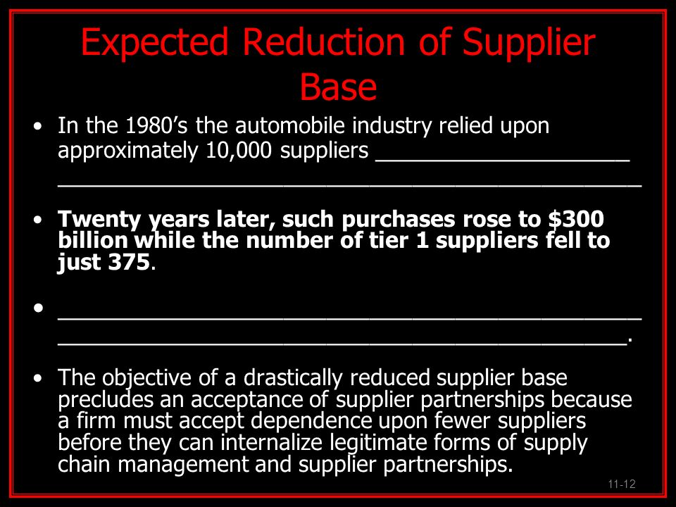 Expected Reduction of Supplier Base In the 1980s the automobile industry relied upon approximately 10,000 suppliers __________________ _______________