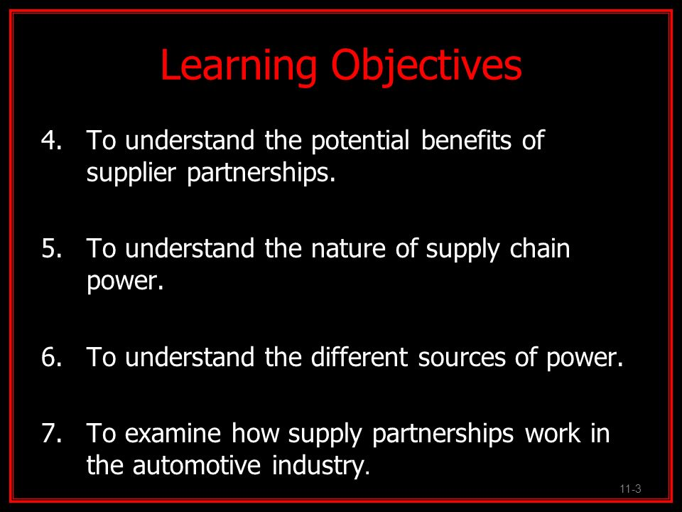 Supply Chain Partnerships Critical to the implementation of __________________________________________ _________________________________________.