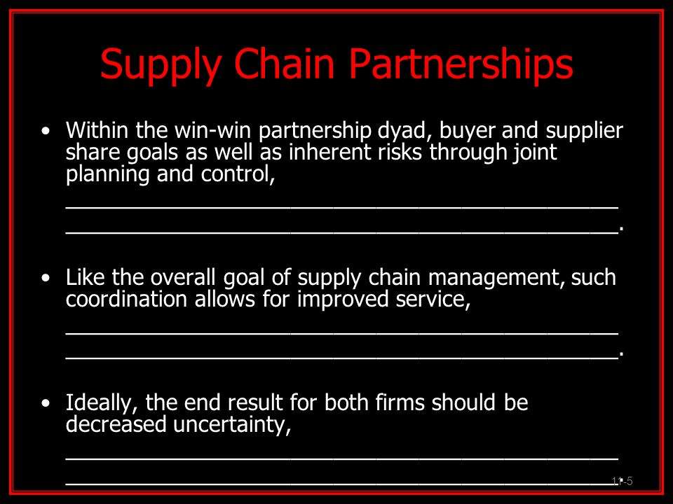 Risks of Supplier Partnerships With its many benefits, supply chain partnerships retain several inherent risks that can be potentially damaging to participants.