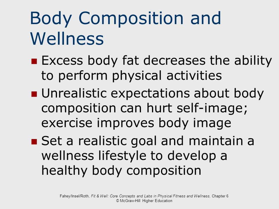 Fahey/Insel/Roth, Fit & Well: Core Concepts and Labs in Physical Fitness and Wellness, Chapter 6 © McGraw-Hill Higher Education Body Composition and W