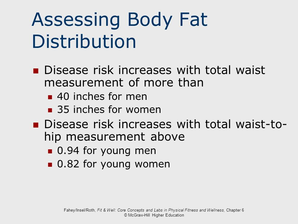 Fahey/Insel/Roth, Fit & Well: Core Concepts and Labs in Physical Fitness and Wellness, Chapter 6 © McGraw-Hill Higher Education Assessing Body Fat Dis