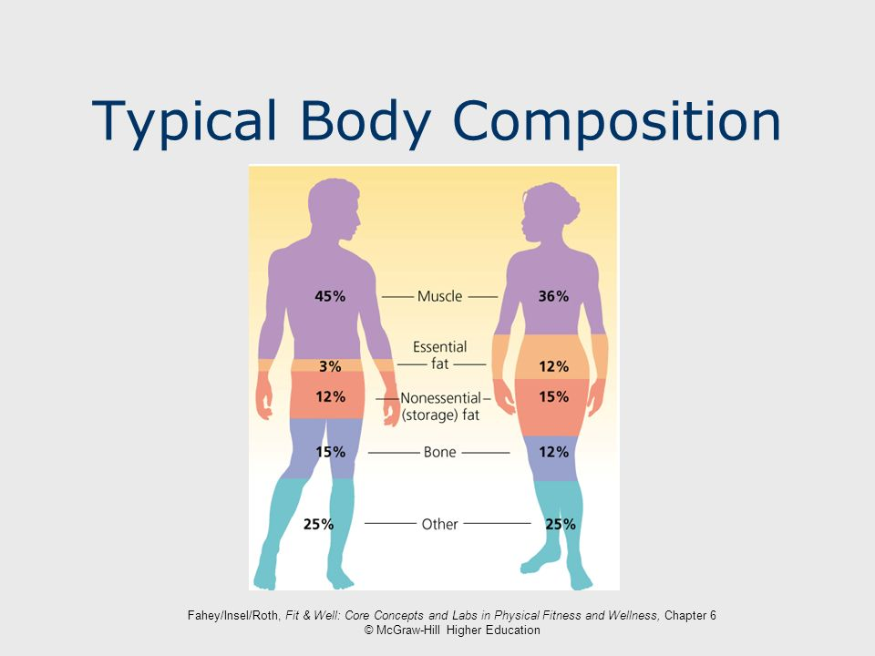 Fahey/Insel/Roth, Fit & Well: Core Concepts and Labs in Physical Fitness and Wellness, Chapter 6 © McGraw-Hill Higher Education Typical Body Compositi