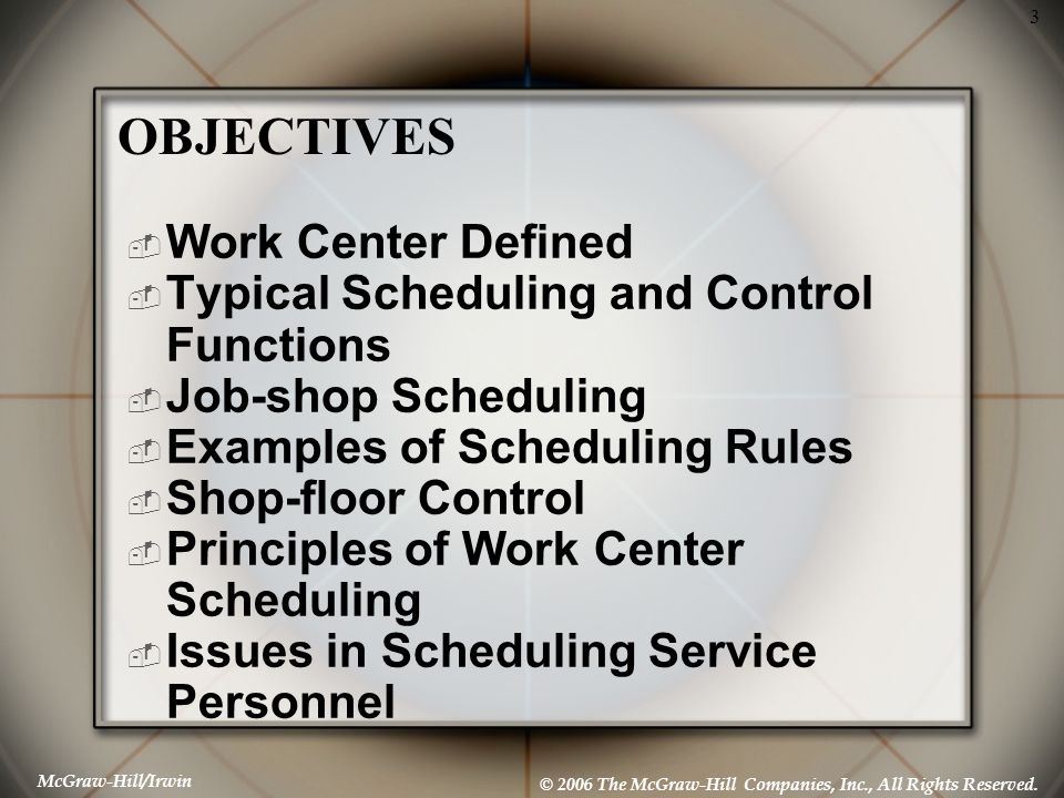 McGraw-Hill/Irwin © 2006 The McGraw-Hill Companies, Inc., All Rights Reserved. 3 Work Center Defined Typical Scheduling and Control Functions Job-shop