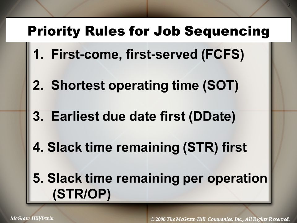 McGraw-Hill/Irwin © 2006 The McGraw-Hill Companies, Inc., All Rights Reserved. 9 Priority Rules for Job Sequencing 1. First-come, first-served (FCFS)