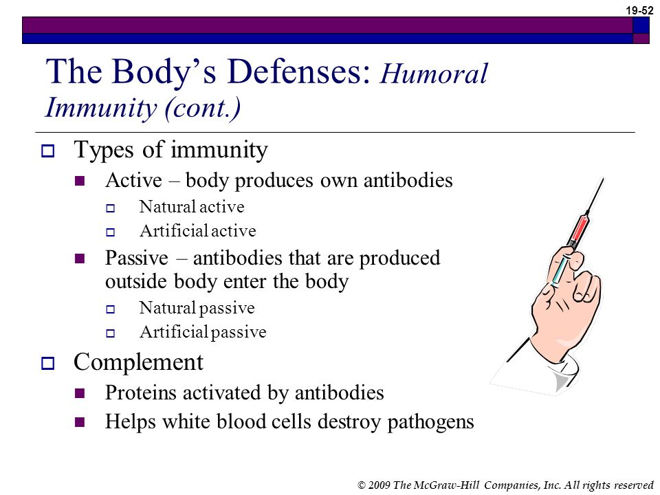 © 2009 The McGraw-Hill Companies, Inc. All rights reserved 19-51 The Bodys Defenses: Humoral Immunity Lymphocytes – B cells and T cells T cells activa