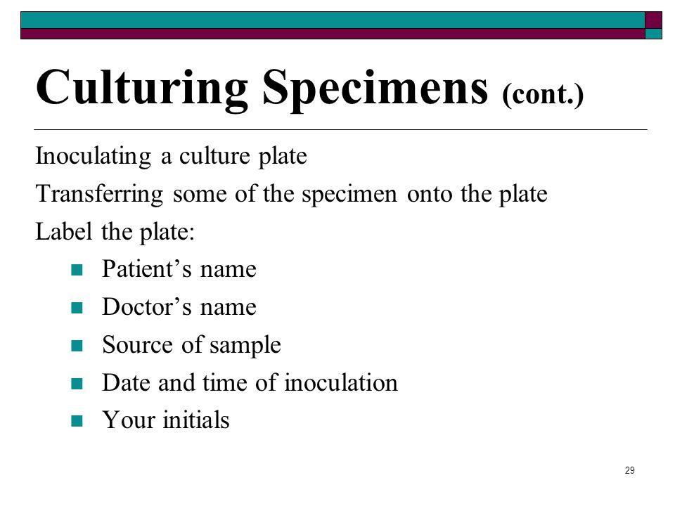 28 Culturing Specimens (cont.) Culture media – liquid, semisolid, or solid forms Medium called – agar Special culture units – used to perform rapid ur