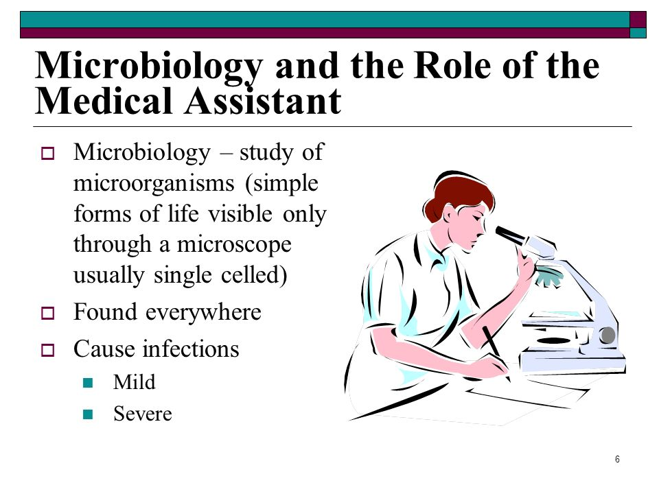 6 Microbiology and the Role of the Medical Assistant Microbiology – study of microorganisms (simple forms of life visible only through a microscope usually single celled) Found everywhere Cause infections Mild Severe