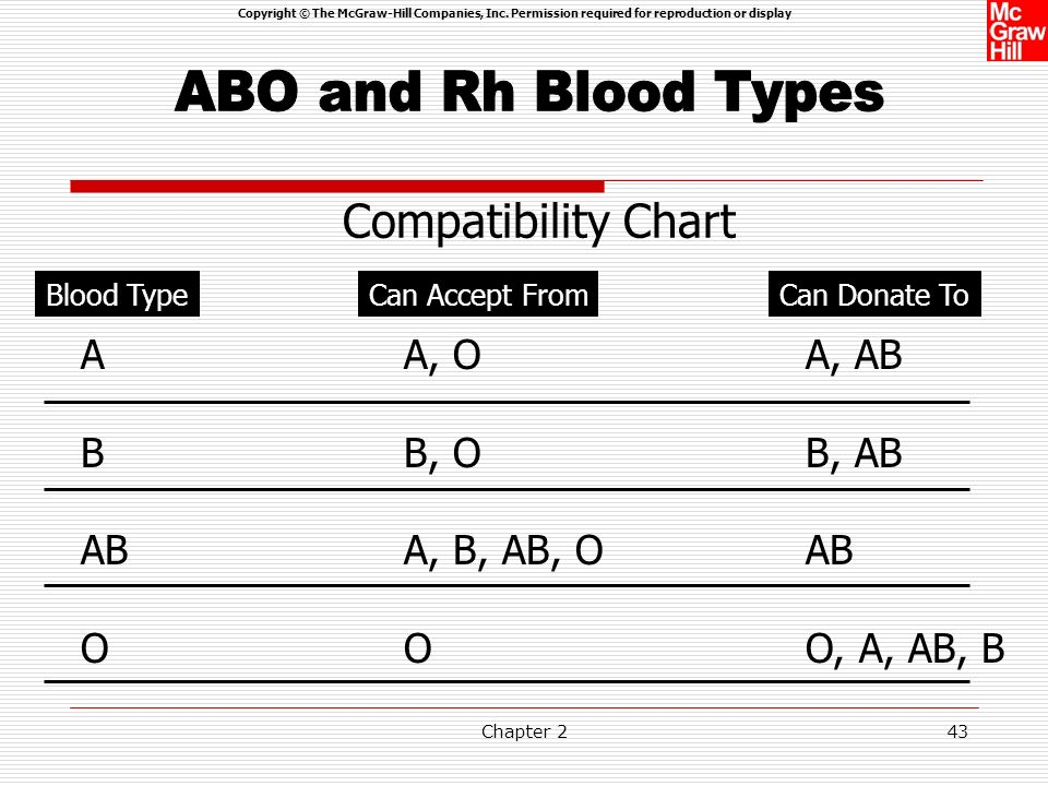 Copyright © The McGraw-Hill Companies, Inc. Permission required for reproduction or display Chapter 242 The blood group system recognizes four blood t