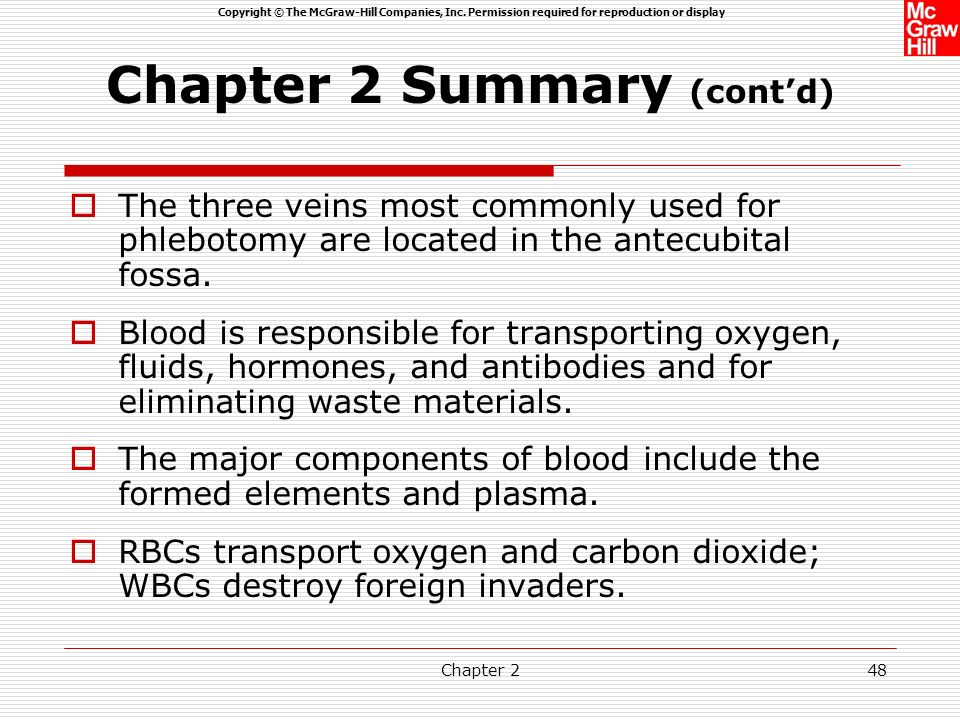Copyright © The McGraw-Hill Companies, Inc. Permission required for reproduction or display Chapter 247 Chapter 2 Summary The vascular system consists