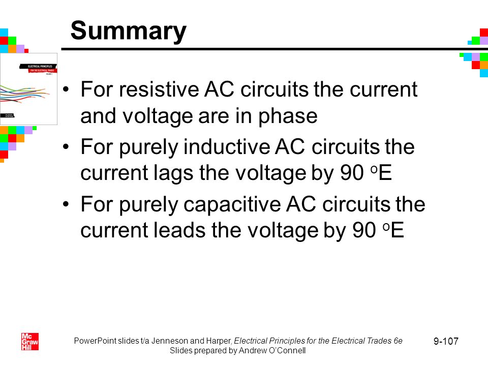 PowerPoint slides t/a Jenneson and Harper, Electrical Principles for the Electrical Trades 6e Slides prepared by Andrew OConnell 9-107 Summary For res