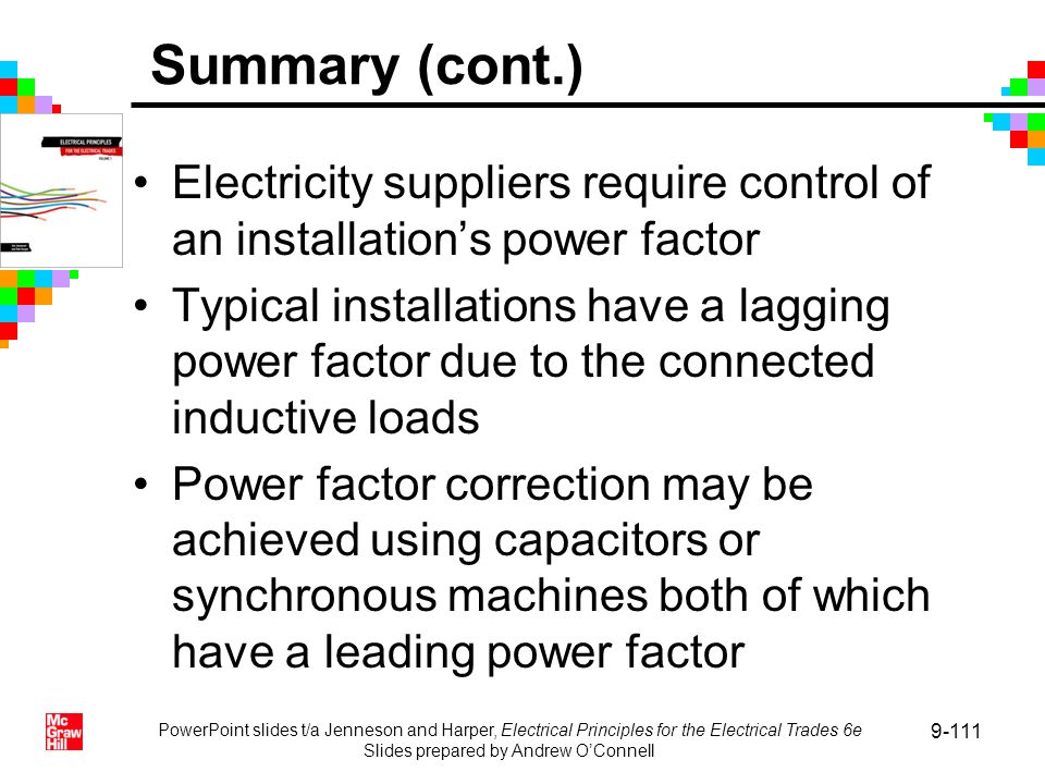 PowerPoint slides t/a Jenneson and Harper, Electrical Principles for the Electrical Trades 6e Slides prepared by Andrew OConnell 9-111 Electricity sup