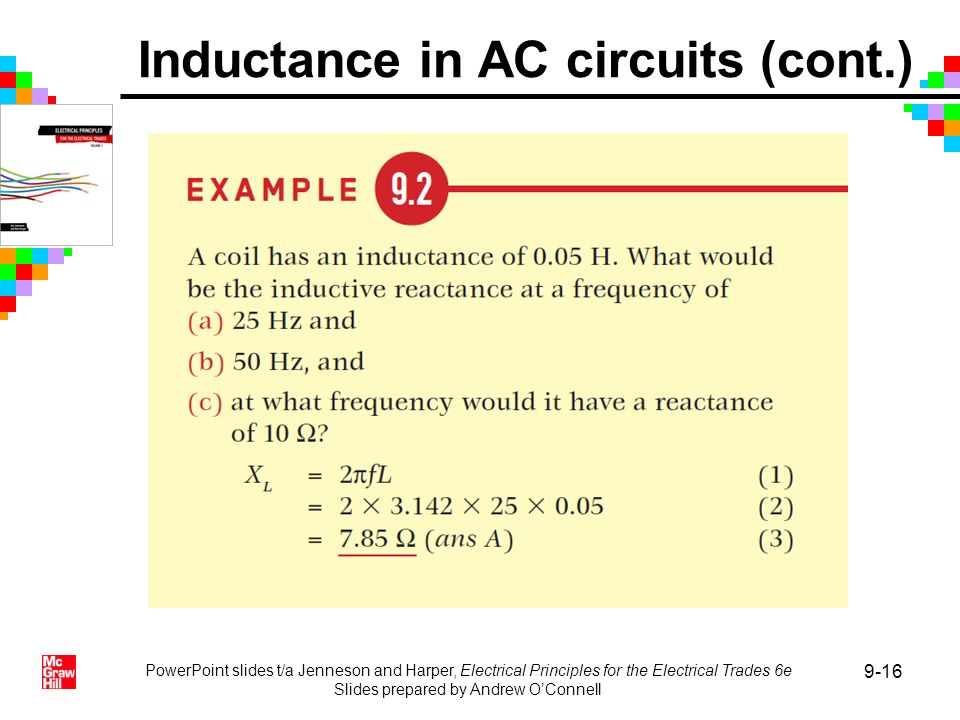 PowerPoint slides t/a Jenneson and Harper, Electrical Principles for the Electrical Trades 6e Slides prepared by Andrew OConnell 9-16 Inductance in AC