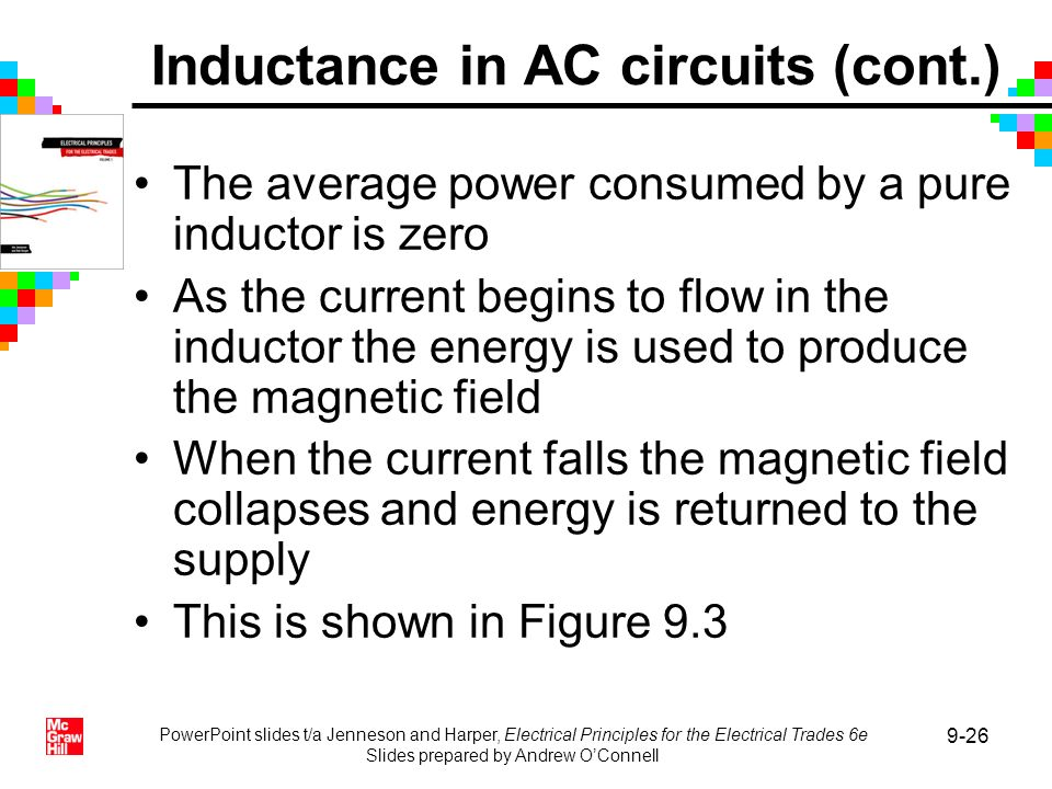 PowerPoint slides t/a Jenneson and Harper, Electrical Principles for the Electrical Trades 6e Slides prepared by Andrew OConnell 9-26 The average powe